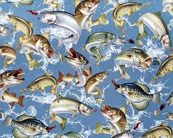 Reel It In by Quilting Treasures #1649-24032-B Swimming Fish Cotton Fabric Priced Per 1/2 Yd.