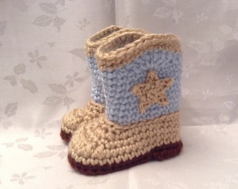Baby Cowboy Boots Blue and Tan Crochet  boots Made to Order Baby Boy Booties Infant Booties Gender Reveal