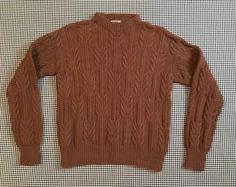 1970's, wool, cable knit, sweater, in brown, Men's size Small, Women's size Medium