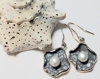 Unique Contemporary Abstract Textured Sterling Dangle Drop Designed Earrings adorned w/Pearls&Sterling Ear Wires #251