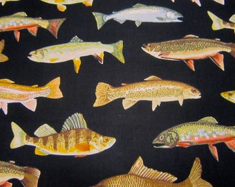Timeless Treasures Cotton Fish Fabric with Black Background