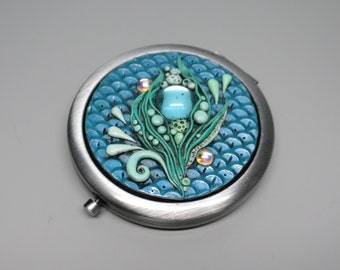 Mermaid Compact Mirror, Underwater Fantasy, Aqua Scales, Vintage Gems, Mother's Day, Gift Idea, Mermaid Gift