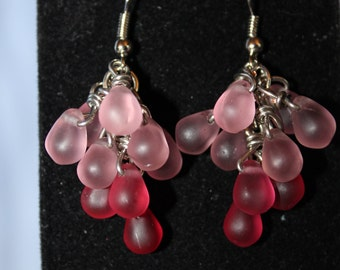 Frosted Pink Dewdrop Earrings