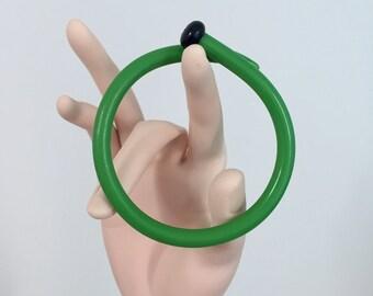Green Bonette Bracelet, Vintage Knitting Needle, Gift For Knitter, Upcycled Bangle, Recycled Plastic, Repurposed Bracelet, 2nd Anniversary