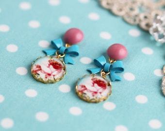 Earrings Christ rose rose pink Ribbon