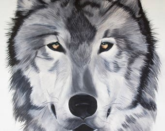 Wolf Face Painting, Wolf Painting, Dog Painting - A4
