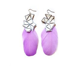 Purple Feather Earrings, Violet Geometric Earrings, Silver Holographic Leather Triangle Earrings, Hologram Jewelry, Statement Earrings