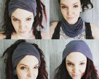 Wide headband - 4 styles in 1! Scrunch headband, boho headband, beanie, cowl, turban, dreadlock wrap, yoga headband, ear warmer, non slip