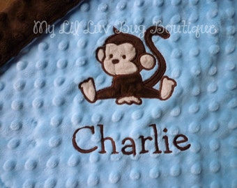 Personalized minky blanket- baby monkey blue and brown- lovey blanket