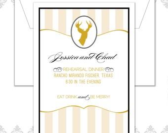 Deer Rehearsal Dinner Invitation - Deer Invite - Rehearsal Dinner Party - Modern Deer Invitation - Striped Party Invite - Antlers Invite