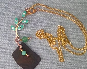 Necklace ebony wood pendant with enamel connector and Malaysian jade bead