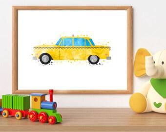 Yellow taxi cab print, taxi printable, taxi cab wall art, yellow cab print, transport printable, boy room wall art, toddler bedroom decor