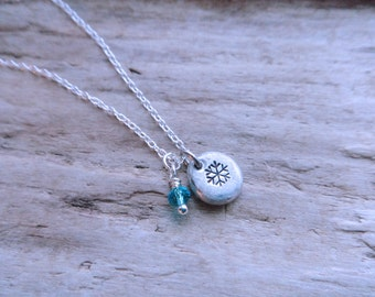 Snowflake Necklace, Ice Queen Necklace, Stamped Pewter Pebble Blue Crystal Silver Pendant