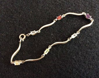 Gold Plated Sterling Silver Bracelet With Multi-Colored Gems and Diamond, 925 Vermeil
