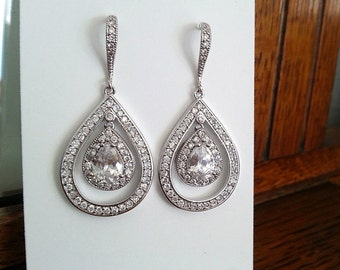 Crystal Earrings with CZ Teardrop, Wedding Jewelry, Dangle Earrings, Cubic Zirconia Earrings, Bridal earrings