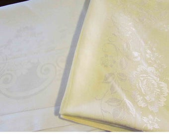 "Vintage Damask Tablecloth sets with napkins - Yellow 60x56 by Toyobo Japan & White 62"" square - 1950s"