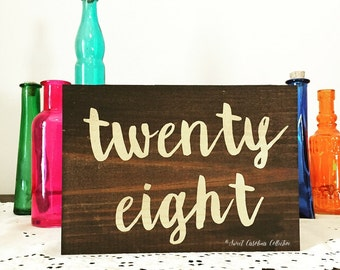 Wood Calligraphy Table Numbers - Wood Table Numbers - Calligraphy Wedding Table Numbers - TB-35