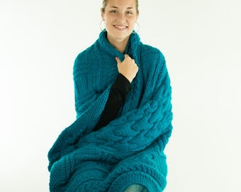 Hand Knit Alpaca Blanket, Afghan, Throw, Cable Knit, Turquoise Teal, Alpaca Wool Mix - 253