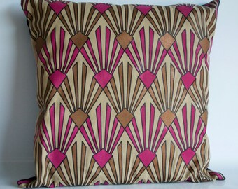 Tan,Pink,Gold, Black outline, Pillow, Decorative Pillow, Throw Pillow, Couch Pillow, Art Deco, Cotton , Handcrafted