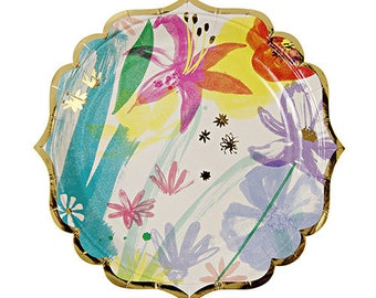 SMALL Painted Flowers Paper Plates | Floral Bridal Shower | Mothers Day | Easter Party | Floral Baby Shower | Painted Flower Floral