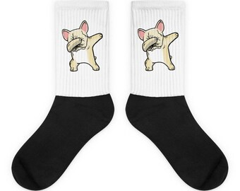 Funny Dabbing Cream French Bulldog Socks, Cute French Bulldog Gift, Frenchie Dog Dab Dance Print