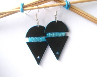FREE SHIPPING. Blue handmade earrings