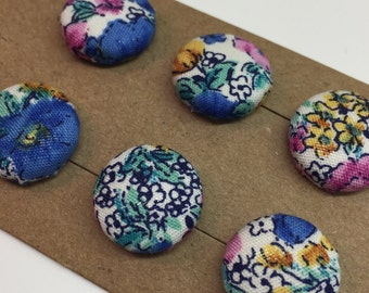 Hand Made fabric Covered Buttons with Flowers