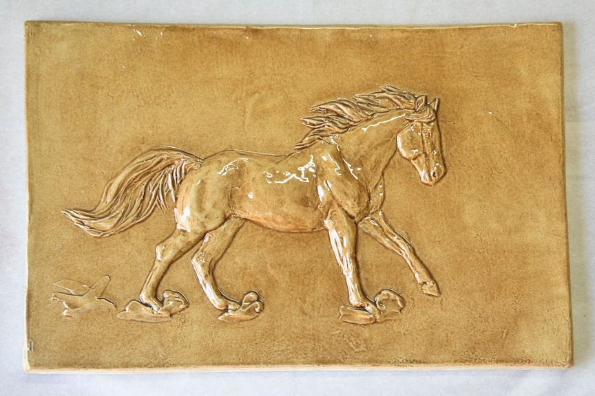Ceramic Bas Relief Loping Horse Tile Old English Handmade Art