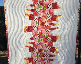 """Modern fabric wall art. Orange/yellow/lime green/red/cranberry/pink. Funky Fun Bright Abstract textile art.  Approx 23"""" x 27"""""""