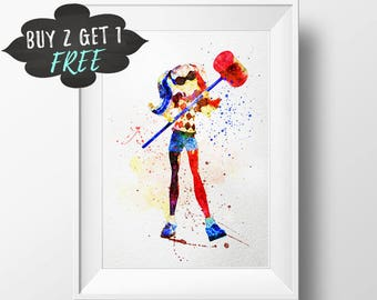 Dc Superhero Girls Printable Wall Art, Harley Quinn Dc Super Hero Girls, Dc Girls Printable, Dc Girls Print Watercolor Decor Poster Download