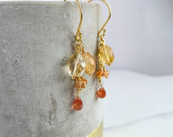Citrine earrings with Sunstone, Carnelian and Gold. Autumnal cascading colours