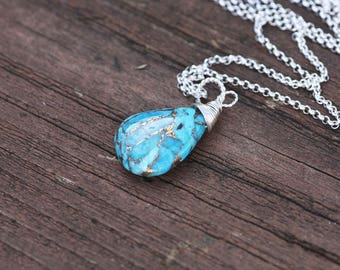 Natural Arizona Mojave Turquoise Wire Wrapped Pendant in Sterling Silver , December Birthstone , 11th Anniversary , OOAK , Healing Gem