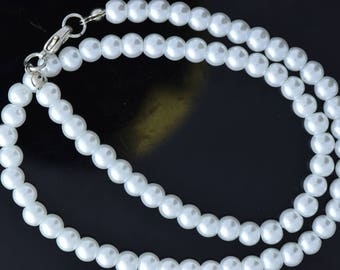 Pearl Necklace , Glass , 6mm pearls, 16 inches long , sole per strand OE 929