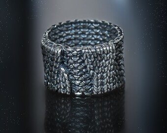 Knit ring Oringo Sterling silver 925 knitwork netting band classy jewelry