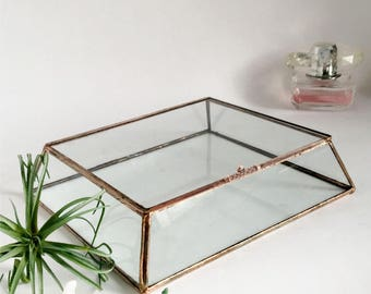 "Glass Box Glass Display Box 8 1/2"" x 7 1/2"" x 3""H Glass Wedding Card Box Clear Glass Jewelry Box Truncated Pyramid Box"