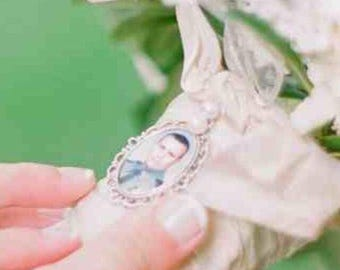 2 Wedding Bouquet photo charms to hang on your bridal bouquet for keepsake (includes everything you need ) Wedding Jewelry