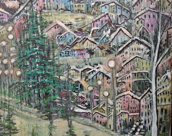 Acrylic Painting, Small Painting, Original Painting, Town Painting, Village Painting, Canvas Art, Colorful Painting, Wall Art, Wall Decor
