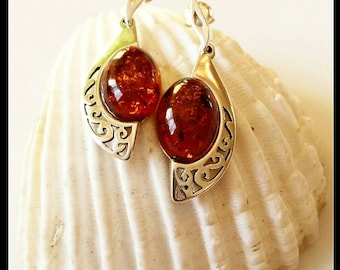 Baltics Amber earrings, sterling silver (jewelry set) statement earrings. Organic and Eco Jewelry.