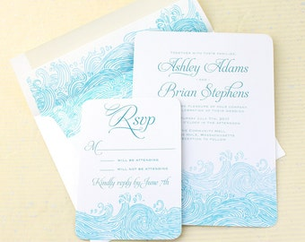 Beach Wedding Invitations, Waves Wedding Invitations from Concertina Press