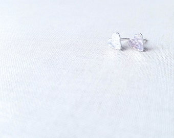 Sterling Silver Hammered Heart Studs - 925 Sterling Silver Tiny Artisan Heart Post Earrings Valentine Gift for Her Minimalist Simple Petite