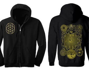 ALCHEMIST Hoodie Men's and Women's Geometric Alchemy Black Hooded Sweatshirt Sacred Geometry Skeleton