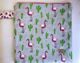 Yarn bag / Knitting project bag / Cactus / Flamingo / bag with zipper / Sock knitting bag / Zipper bag