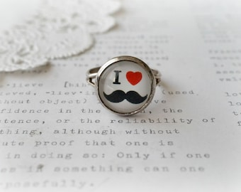 Silver Round I Heart Moustaches Ring
