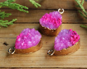 1 pc Resin Druzy Pendant, (22mm x 13mm) Fuchsia Druzy Pendant, Drop Druzy Pendants, Druzy Charms, Boho Druzy Necklace Charm / DR-D05