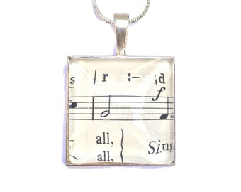 Vintage Music Sheet Pendant, Music Necklace, Music Notes Jewellery, music sheet pendant, silver music gift, unique gift, silver necklace,
