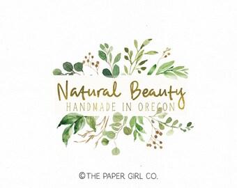 premade logo leaf logo soap logo beauty logo organic logo photography logo nature logo vegan logo yoga logo business logo etsy logo
