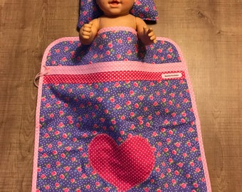 Purple flowered doll blanket with heart