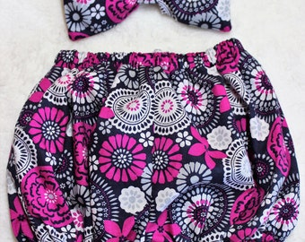 Bloomers and headband with puffed bow, navy blue and fuschia, baby girl, bubble shorts, diaper cover, infant bloomers, baby clothes, baby