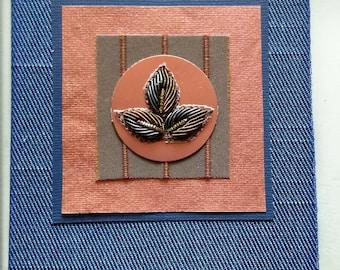 beaded leaf card