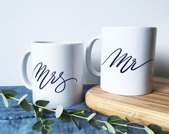 Mr and Mrs - calligraphy mug set - wedding gift - couples gift set